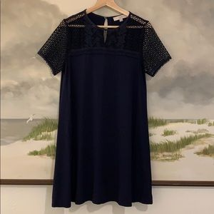 Loft- Navy Jersey Dress with Lace